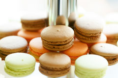 Sweet and tasty delicious colorful macaroons wedding dessert tab Royalty Free Stock Images