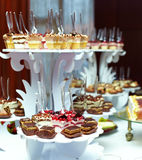 Sweet tasty dessert on buffet. Many servings of sweet tasty dessert on buffet Stock Photography