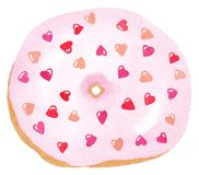 Sweet tasty donut with pink glaze, and pink heart sprinkles. Valentine`s day donut. For cafes, coffee shops, restaurants royalty free illustration