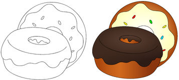 Sweet and tasty donuts with glaze. Coloring book for kids about Royalty Free Stock Photos