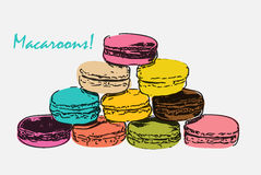 Sweet Tasty Drawn Macaroons  on White Stock Images