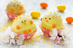 Sweet and tasty Easter chick candy for children party Royalty Free Stock Photos