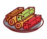 Sweet tasty lokum on plate isolated illustration Stock Images