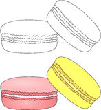 Sweet and tasty macaroons. Coloring book for kids about food Royalty Free Stock Photos