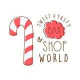 Sweet and tasty shop world logo. Colorful hand drawn label Stock Image