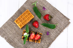 Sweet Tasty Viennese Waffles Stock Photography