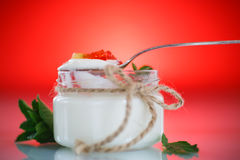 Sweet tasty yogurt and jelly. On a red background Royalty Free Stock Photos