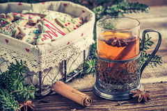 Sweet tea and gingerbread cookies for Christmas Stock Photo