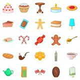 Sweet tea icons set, cartoon style. Sweet tea icons set. Cartoon set of 25 sweet tea vector icons for web isolated on white background Royalty Free Stock Photo