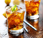 Sweet tea with lemon slices and mint Royalty Free Stock Photography