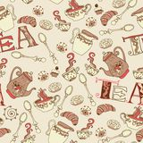 Sweet tea seamless doodle pattern Stock Photo
