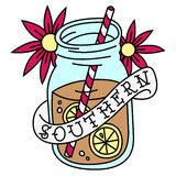 Sweet Tea Tattoo. A tattoo style illustration of sweet tea and a southern banner Royalty Free Stock Photo