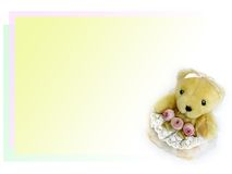 Sweet teddy bear. A little teddy bear send you three roses Royalty Free Stock Photo