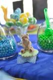 Sweet teddy bear on a birthday cupcake Royalty Free Stock Photo