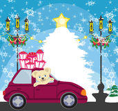Sweet teddy bear in the car with christmas gift box Stock Photos