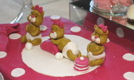 Sweet teddy bears on a  pink birthday cake Royalty Free Stock Photography