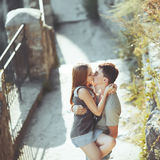 Sweet teen couple kissing. Stock Image