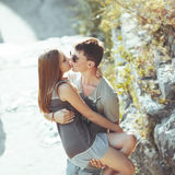Sweet teen couple kissing Stock Photos