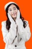 Sweet teenage girl with orange background Stock Images