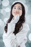 Sweet teenage girl in winter coat Royalty Free Stock Photography