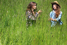 Sweet Teens Hanging Out. Two pretty teen girls with long brown hair, standing in tall grass talking to each other. Shallow depth of field. Copy space Royalty Free Stock Photo