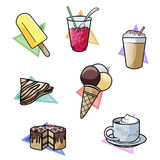 Sweet temptations. Computer-made illustration: set of seven yummy sweet delicacies. From top-left: popsicle - crushed ice drink - milkshake - french cr�pe Stock Photo