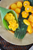 Sweet Thai Dessert on Golden Plate royalty free stock photos