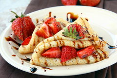 Sweet thin french style crepes Royalty Free Stock Photo