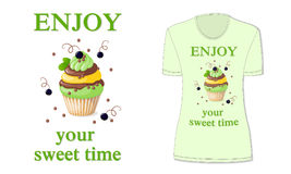 Sweet time with cupcake and black currant, mockup Royalty Free Stock Photo