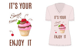 Sweet time with cupcake and cherry, mockup Royalty Free Stock Photography