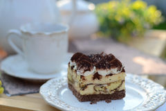 Sweet tiramisu served in the garden Royalty Free Stock Images