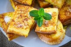 Sweet toast fried egg sprinkled Royalty Free Stock Photos