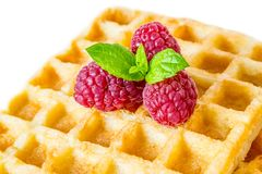 Sweet toast waffles breakfast with raspberries and with sprig of mint leaves macro close-up isolated. On white background Stock Photo
