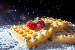 Sweet toast waffles with raspberries and a sprig of mint leaves and sifting pouring sugar powder in the sunlight close-up. Macro on a black background Royalty Free Stock Photos