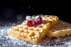 Sweet toast waffles with raspberries and a sprig of mint leaves and sifting pouring sugar powder in the sunlight close-up Royalty Free Stock Images