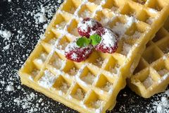 Sweet toast waffles with raspberries and a sprig of mint leaves and sugar powder close-up macro on black background Stock Photos