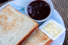 Sweet toasts with jam Royalty Free Stock Image