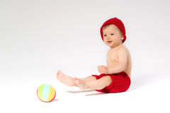 Sweet toddler with a ball Royalty Free Stock Photos