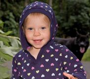 Sweet Toddler in Hoodie. Cute toddler girl Caucasian is outdoors happy and smiling while wearing a hoodie Stock Images