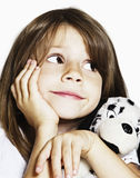 Sweet toddler with puppy soft toy in studio Royalty Free Stock Photos