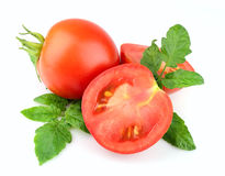 Sweet tomatoes with leafs Royalty Free Stock Photo