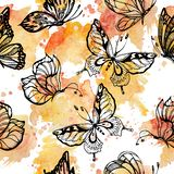 Sweet tone of Butterflies flying on watercolor splashes seamless pattern scattered repeat. For fashion ,fabric ,wallpaper and all prints on pink background stock illustration