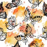 Sweet tone of Butterflies flying on watercolor splashes seamless pattern scattered repeat. For fashion ,fabric ,wallpaper and all prints on pink background royalty free illustration