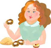 Sweet-tooth with donuts. Sweet-tooth with sweet pastry Royalty Free Stock Photo