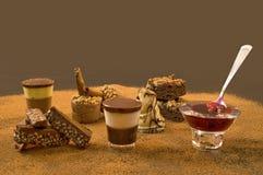 Sweet Tooth? Enjoy it!. Sweet plata with teramisu, jam, chocolate and cakes Royalty Free Stock Photo