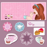 Sweet tooth. Girl with cup of tea on the pink background Royalty Free Illustration