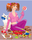 Sweet tooth girl with different sweets. Chocolate, cakes, lollipops, candys Stock Photography