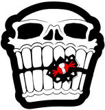 Sweet Tooth Skull. Skull black and white with red candy vector, vertical,  isolated Stock Image