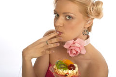 Sweet tooth woman Stock Images
