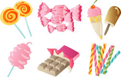 Sweet Treat. Vector clip art collection of six sweet treat figures Royalty Free Stock Images